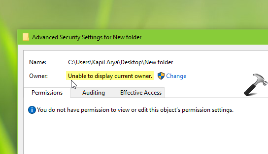FIX Unable To Display Current Owner In Windows 10