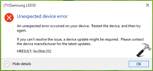 FIX - Unexpected Device Error While Casting From Windows 10