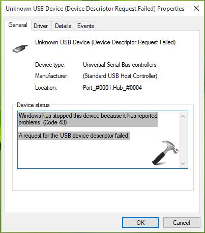 Error 43 Usb Device Not Recognized Windows 10 Fix USB Code