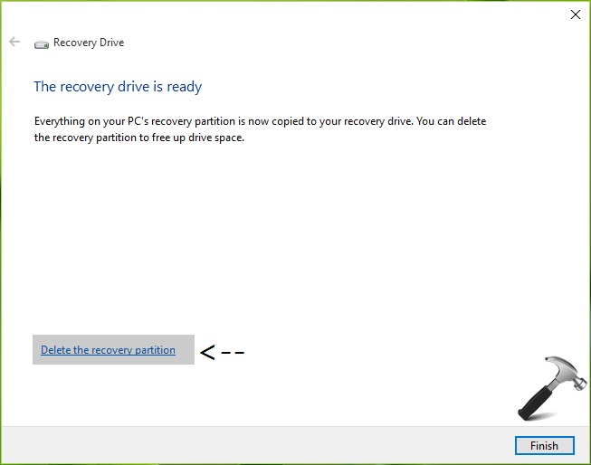 We Cannot Create System Recovery Drive On This PC In Windows 10