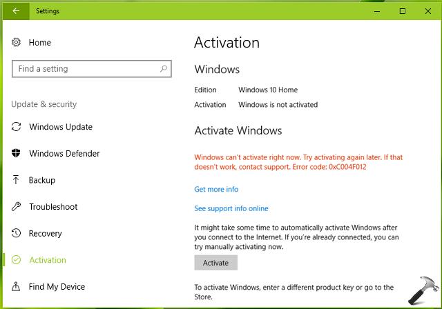 FIX Windows 10 Activation Error 0xC004F012