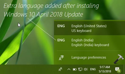 FIX Windows 10 April 2018 Update Adds Extra Language