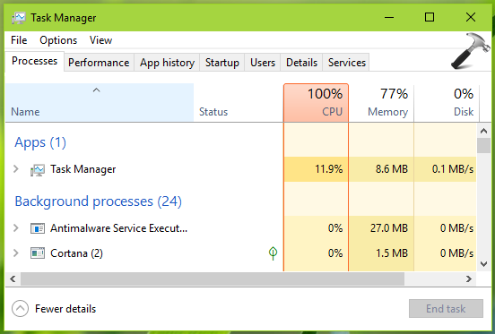 windows 10 100 cpu usage fix