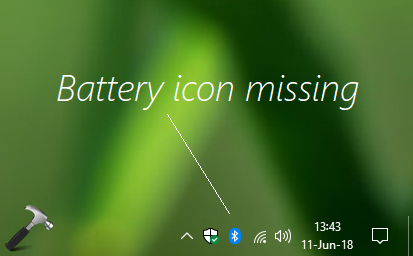 FIX Windows 10 Taskbar Missing Battery Icon