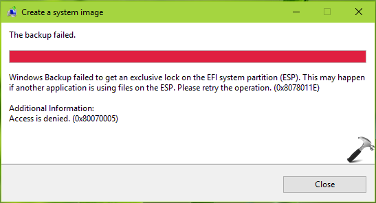 FIX Windows Backup Failed To Get An Exclusive Lock On The EFI System Partition In Windows 10
