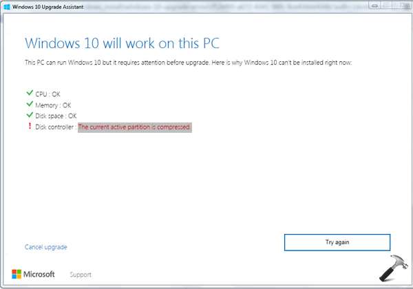 Windows Can't Be Installed Because This PC Uses A Compressed Operating System