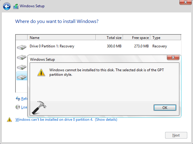 FIX - Windows Cannot Be Installed To This Disk. The Selected Disk Has An MBR Partition Table. On EFI Systems, Windows Can Only Be Installed To GPT Disks.