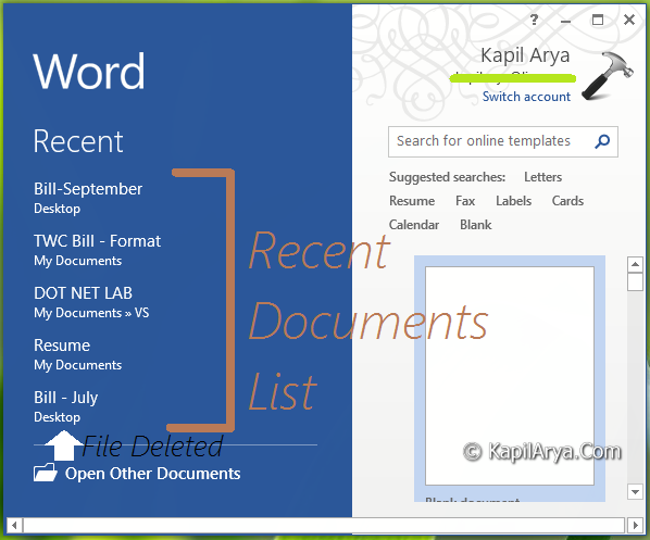 Word 2013 Checklist