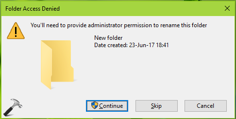 You'll Need To Provide Administrator Permission To Rename This Folder In Windows 10