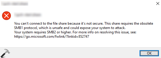 You Can't Connect To The File Share Because It's Not Secure