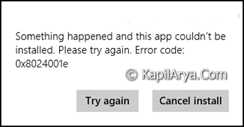Fix Error 0x8024001e Windows Store