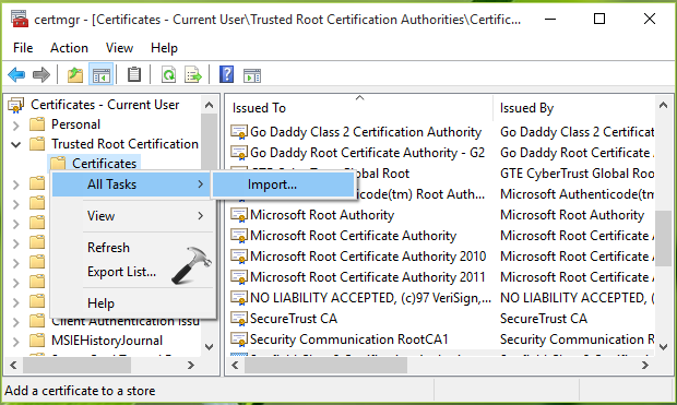 How To Install Trusted Root Certificate In Windows 10