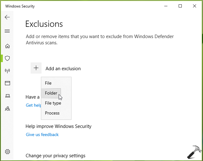 How To Add Exclusion To Windows Security In Windows 10