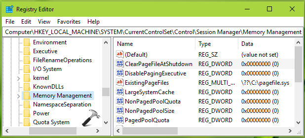 How To Allow/Prevent Windows 10 To Clear Virtual Memory Pagefile At Shutdown