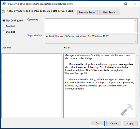 How To Allow Or Prevent Apps To Share Data Between Users In Windows 10