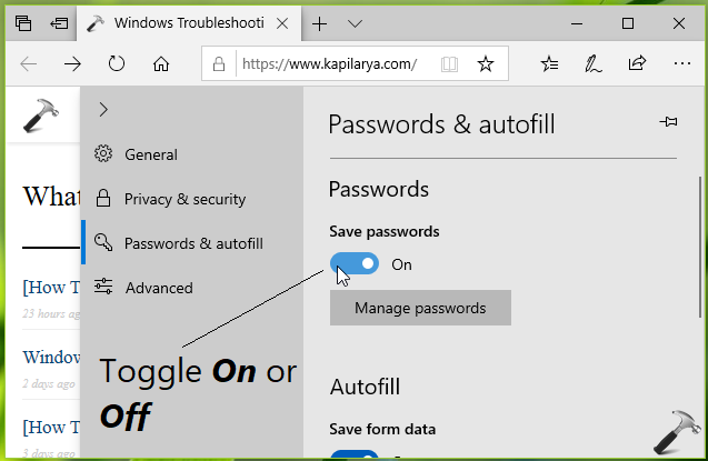 How To Allow Prevent Microsoft Edge To Save Passwords