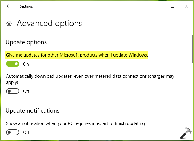 How To Allow/Prevent Update For Other Microsoft Products In Windows 10