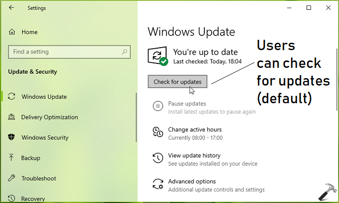 How To Allow Prevent Users To Check For Updates In Windows 10