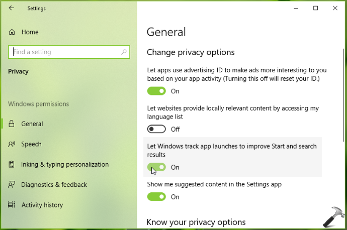 How To Allow/Prevent Windows 10 To Track App Launches