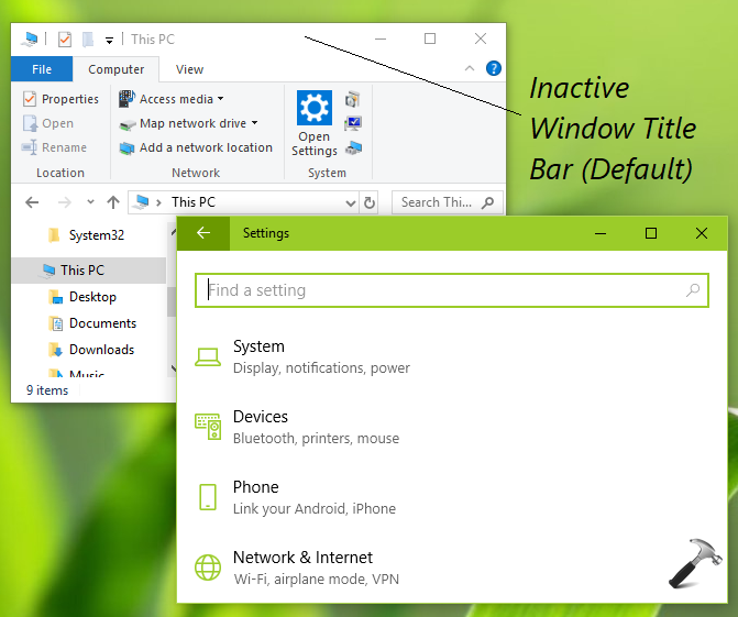 How To Change Windows 10 Inactive Title Bar Color