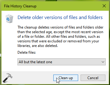 How To Cleanup File History Versions In Windows 10