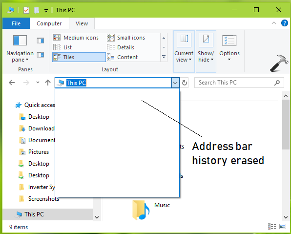 How To Clear Address Bar History For File Explorer In Windows 10