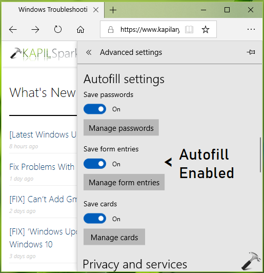 How To Configure Autofill Settings In Microsoft Edge