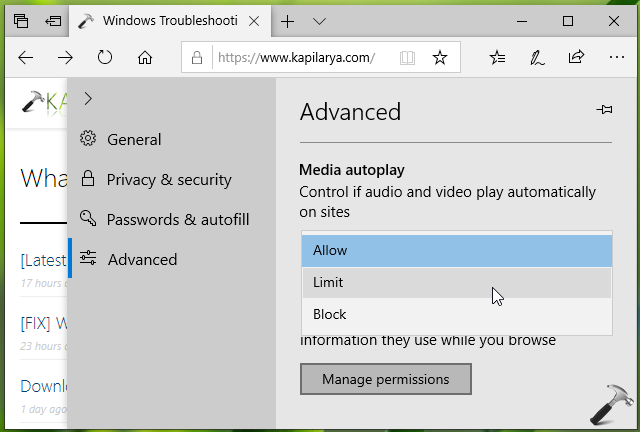 How To Configure Media Autoplay Settings In Microsoft Edge