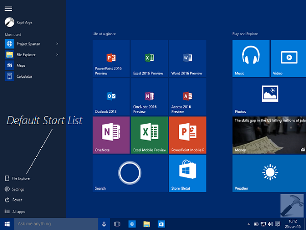 How To Customize Start List In Windows 10