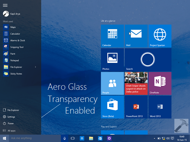 How To Disable Aero Glass Transparency From Start, Taskbar & Action Center In Windows 10