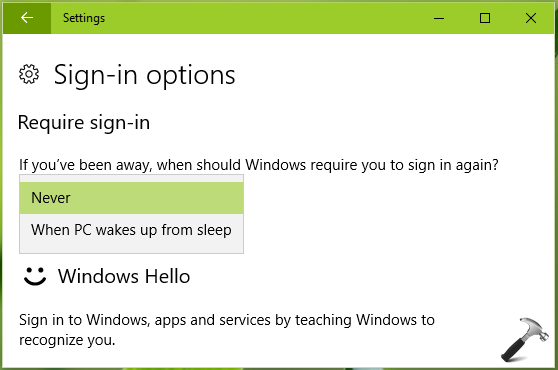 windows 10 disable password after sleep