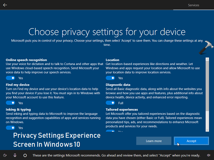 How To Disable Privacy Settings Experience Screen In Windows 10