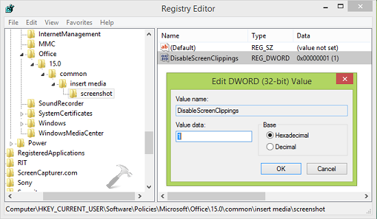 How To Disable Screen Clipping In Office 2013