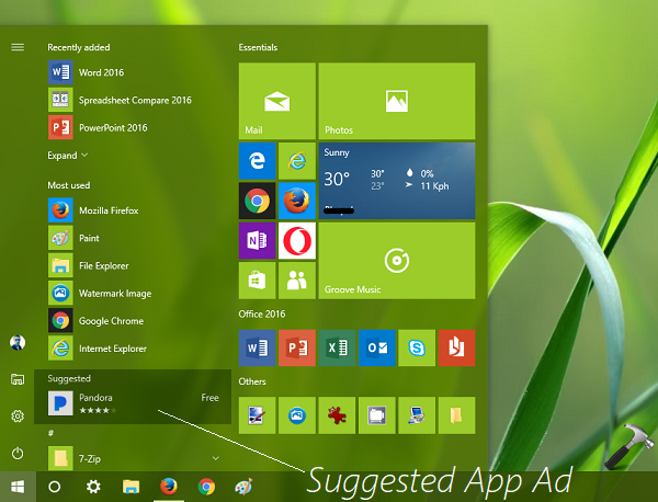 How To Disable Suggested Apps Ad In Windows 10 Start Menu