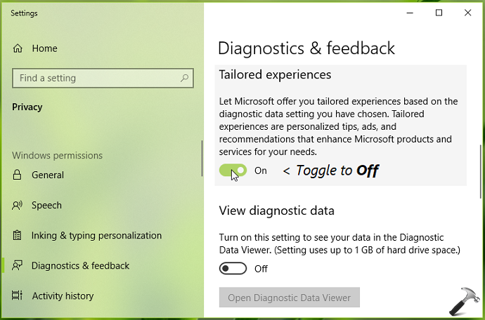 How To Disable Tailored Experiences In Windows 10