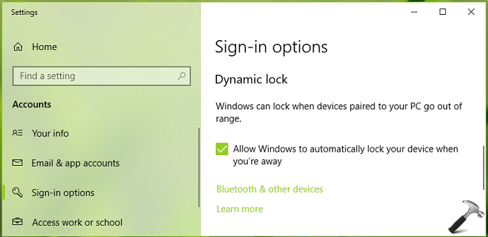 How To Enable And Use Dynamic Lock In Windows 10