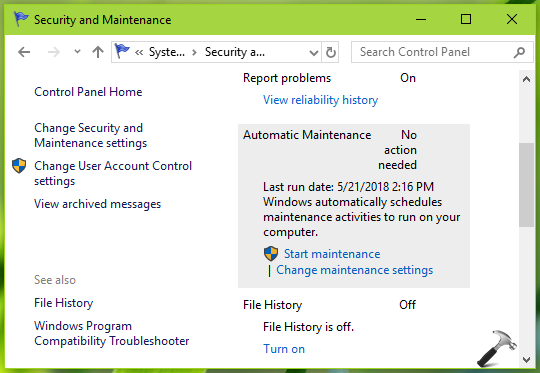 How To Enable/Disable Automatic Maintenance In Windows 10
