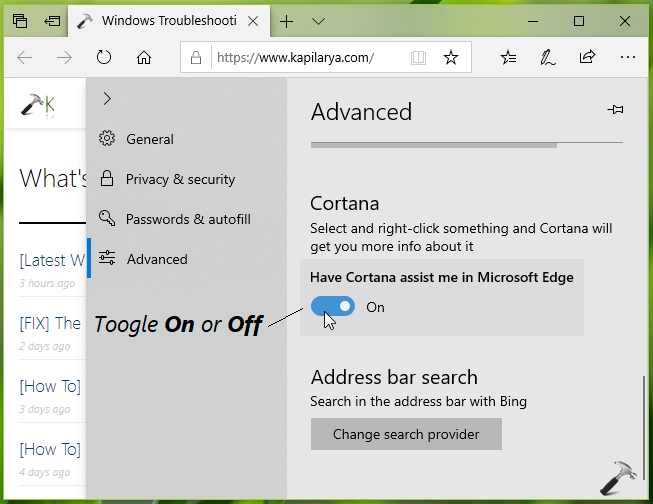 How To Enable Disable Cortana In Microsoft Edge For Windows 10