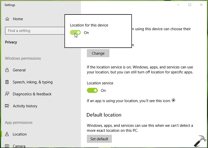 How To Enable/Disable Location Services In Windows 10