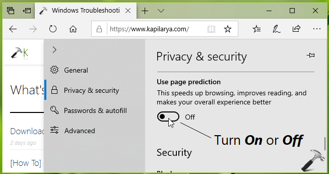 How To Enable Disable Page Prediction In Microsoft Edge