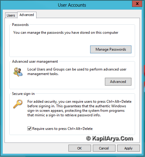 How To Enable Disable Secure Sign In Windows 8 Ctrl Alt Delete 5