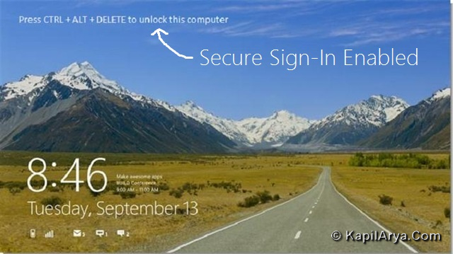 How To Enable Disable Secure Sign In Windows 8 Ctrl Alt Delete
