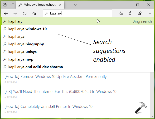 How To Enable Disable Site And Search Suggestions In Microsoft Edge