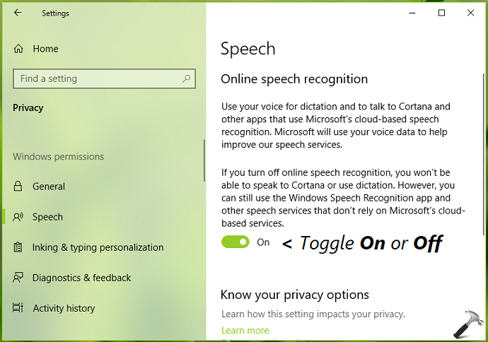 How To Enable/Disable Speech Recognition In Windows 10