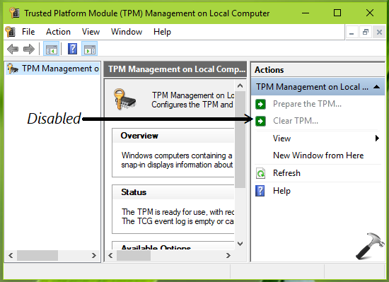 How To Enable Disable The Clear TPM Button In Windows 10
