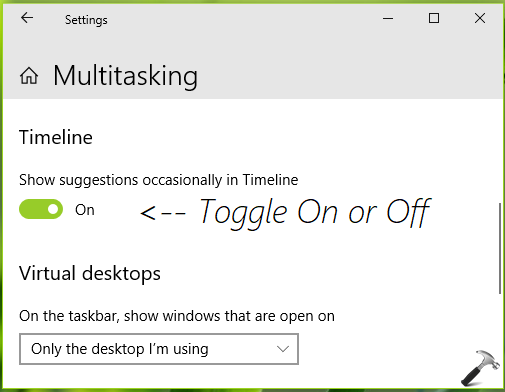 How To Enable Disable Timeline Suggestions In Windows 10