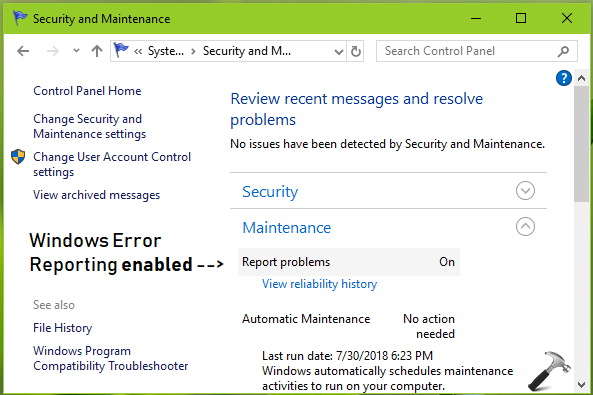 How To Enable Disable Windows Error Reporting In Windows 10