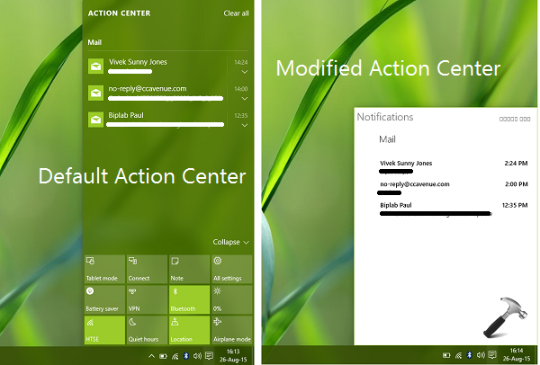 How To Enable Simplified Action Center In Windows 10