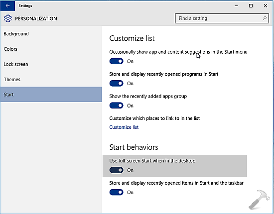 How To Enable Start Screen In Windows 10