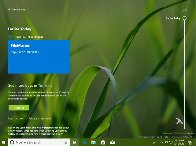 How To Enable Timeline In Windows 10